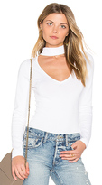 Central Park West Miami V Neck Bodysuit in White. - size L (also in M,S,XS)