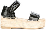 MM6 MAISON MARGIELA platform espadrille sandals - women - Raffia/Calf Leather/Leather/rubber - 38