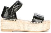 MM6 MAISON MARGIELA platform espadrille sandals - women - Raffia/Calf Leather/Leather/rubber - 41