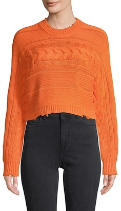 RtA Cable-Knit Cotton Cropped Sweater