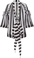 Givenchy Blouse In Black And White Striped Silk-chiffon - FR34
