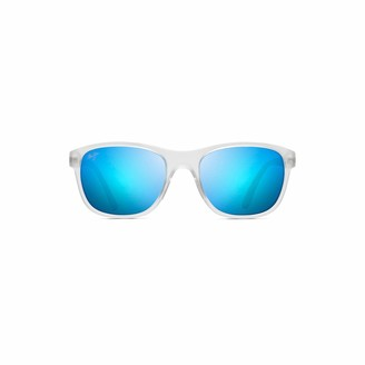 Maui Jim Wakea B745-05CM | Polarized Frosted Crystal Classic Frame Sunglasses Blue Hawaii Lenses with Patented PolarizedPlus2 Lens Technology