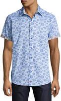 Robert Graham Phillipe Bubble Plaid Short-Sleeve Sport Shirt, Blue
