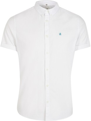 River Island White slim fit Oxford shirt