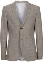 Topman Grey Check Linen Rich Skinny Fit Suit Jacket