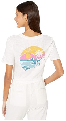 Roxy Classic Notched Short Sleeve Tee (Snow White) Women's Clothing