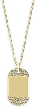 Bloomingdale's Diamond Mini Dog Tag Pendant Necklace in 14K Yellow Gold, 0.15 ct. t.w, 18 - 100% Exclusive