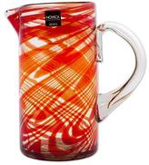 Hand Blown Recycled Glass 59oz Pitcher in Red from Mexico, 'Crimson Serpentines'