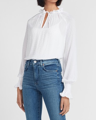 Express Clip Dot Long Ruffle Collar Sleeve Top
