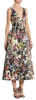 ML Monique Lhuillier Floral-Print V-neck Dress