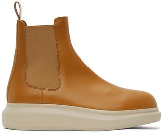 Alexander McQueen Tan Hybrid Chelsea Boots