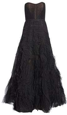 Marchesa Women's Strapless Draped Corset Tulle A-Line Gown - Black - Size 6