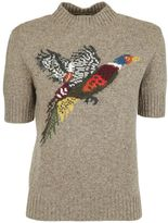 Mulberry Embroidered Bird Sweater