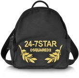DSQUARED2 24-7 Star Icon Black Canvas Small Backpack