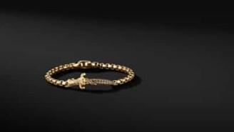 David Yurman Waves Dagger Bracelet In 18K Yellow Gold With Cognac