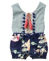 honeys Newborn Baby Girls Ethnic Style Sleeveless Backless Floral Romper Sunsuit (3-6months, )