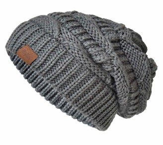 SOMALER Knit Beanie Hat for Women Oversize Chunky Winter Slouchy Beanie Hats Ski Cap - Grey - One Size