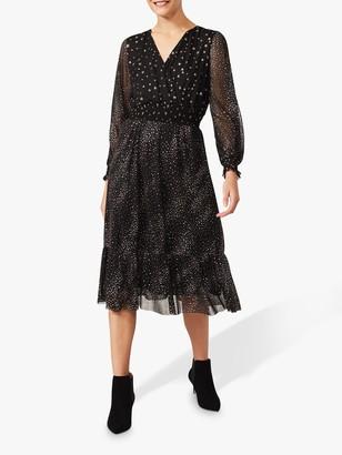 Phase Eight Star Print Wrap Dress, Black