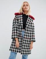 Helene Berman Fur Collar Coat Tweed Check With Red Fur