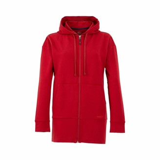 Weird Fish Aphrodite Bamboo Long Line Hoodie Rich Red Size 14