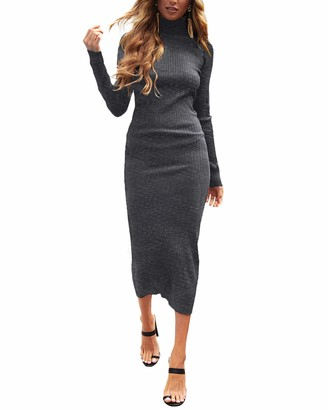 Auxo Women Bodycon Maxi Dress Stretchy Long Sleeve Turtleneck Knitted Sweater Jumper Pullover Sexy Slim Fit Long Dresses 01-Dark Grey 2XL