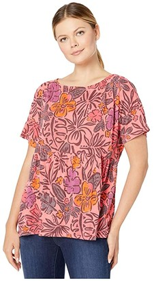 Fresh Produce Sketched Flora Fern Tee (Vibrant Poppy) Women's Clothing