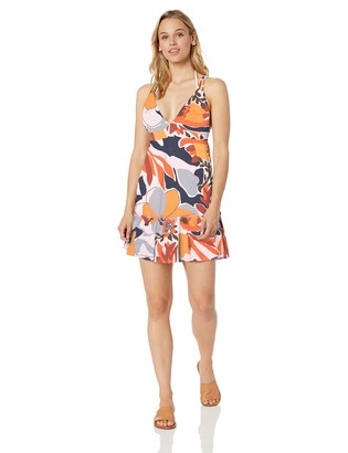 Maaji Women's Printed with Adjustable Straps and Ruffle Hem Cover Up Dress