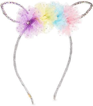 Bari Lynn Girls' Bunny Ear Headband w/ Multicolored Tulle Trim