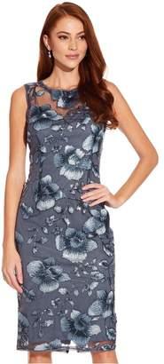 Adrianna Papell Womens Blue Floral Sequin Sheath Dress - Blue
