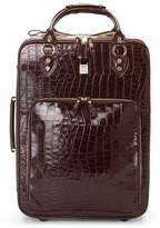 Aspinal of London Large Cabin Case In Deep Shine Amazon Brown Croc