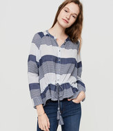 Lou & Grey Striped Drawstring Button Down Shirt