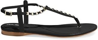 Salvatore Ferragamo Tahiti Embellished Leather Thong Sandals