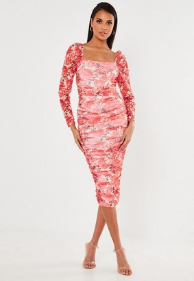 Missguided Red Floral Mesh Ruched Midi Dress