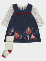 George Christmas Dress, Top and Knitted Tights Set