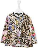 Roberto Cavalli leopard and floral print top