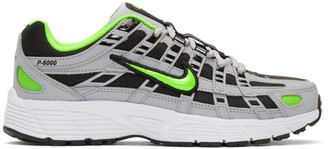 Nike Grey and Green P-6000 Sneakers