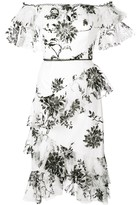 Marchesa Off-The-Shoulder Floral-Print Dress