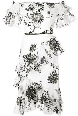 Marchesa off-the-shoulder floral-print dress