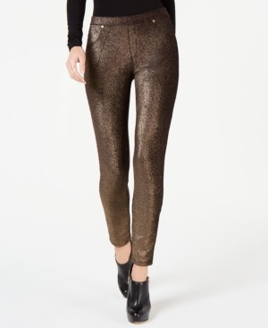 Michael Kors Michael Metallic Foil Pull-On Leggings, Regular & Petite