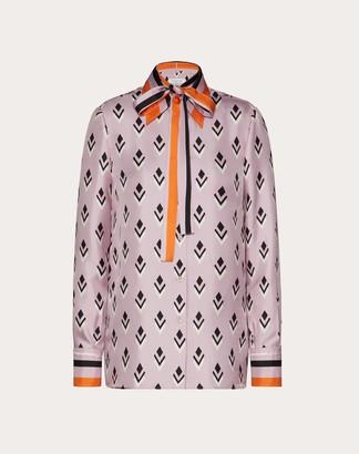 Valentino Printed Twill Shirt Women Multicolored Silk 100% 44