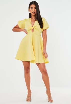 Missguided Lemon Knot Front Puff Sleeve Skater Dress