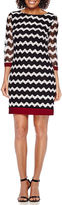 Studio 1 3/4-Sleeve Chevron Knit Shift Dress - Petite