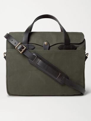 Filson Original Leather-Trimmed Twill Briefcase - Men - Green