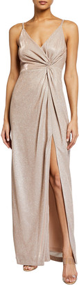 Aidan Mattox Metallic Sparkle Knit Twist-Front Sleeveless Gown