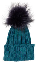 Inverni Green Cashmere Fur Bobble Hat