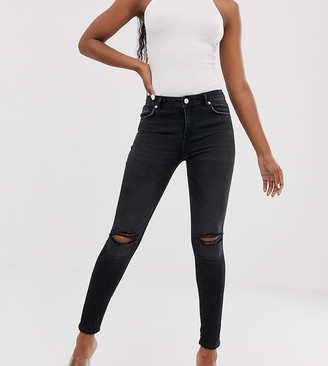 NA-KD Na Kd mid rise distressed skinny jeans in dark grey-Blue