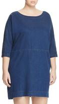 Eileen Fisher Plus Denim Scoop Neck Dress