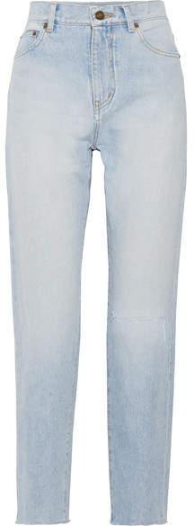 Saint Laurent Distressed High-rise Straight-leg Jeans - Light denim