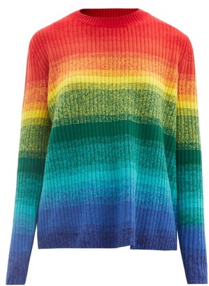 The Elder Statesman Morph Striped Ribbed-cashmere Sweater - Multi