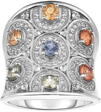 Sterling 2.25 cttw Sapphire & White Topaz R ing